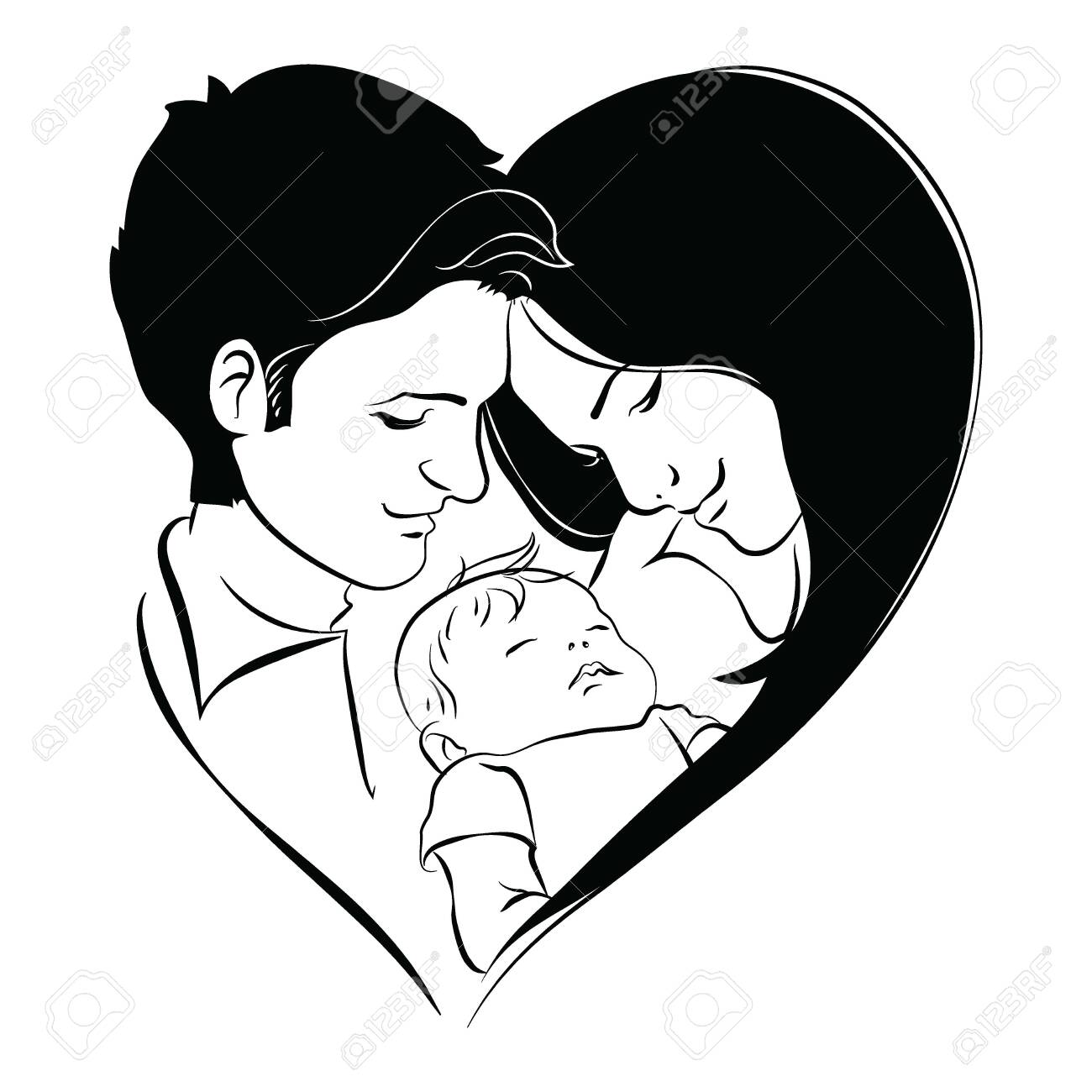Family With Baby Father And Mother Hug Their Child Black And Royalty Free Cliparts Vectors And Stock Illustration Image 129672262