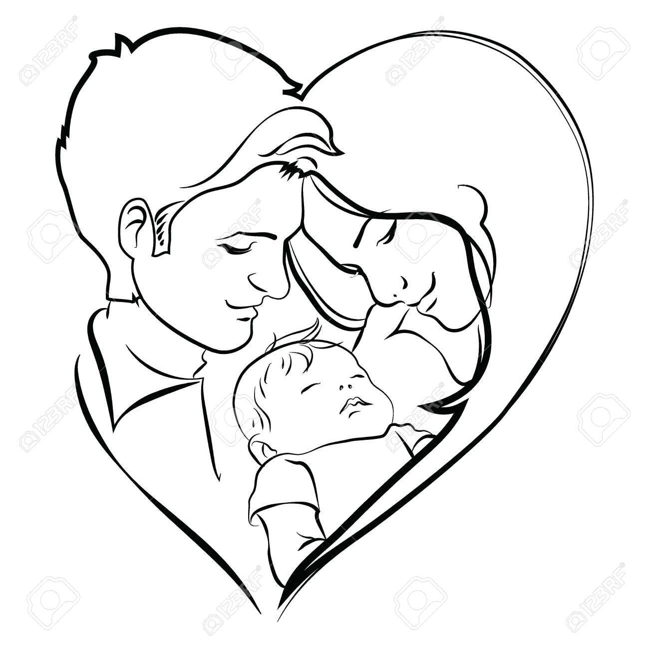 Family With Baby Father And Mother Hug Their Child Black And Royalty Free Cliparts Vectors And Stock Illustration Image 130654193
