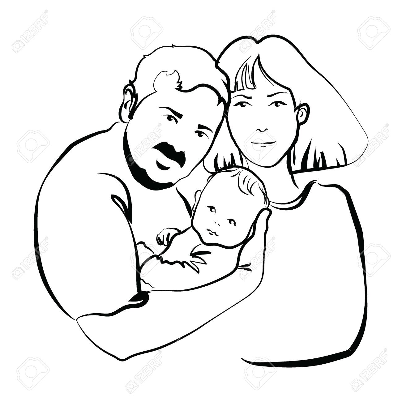 Family With Baby Father And Mother Hug Their Child Black And Royalty Free Cliparts Vectors And Stock Illustration Image 129548068