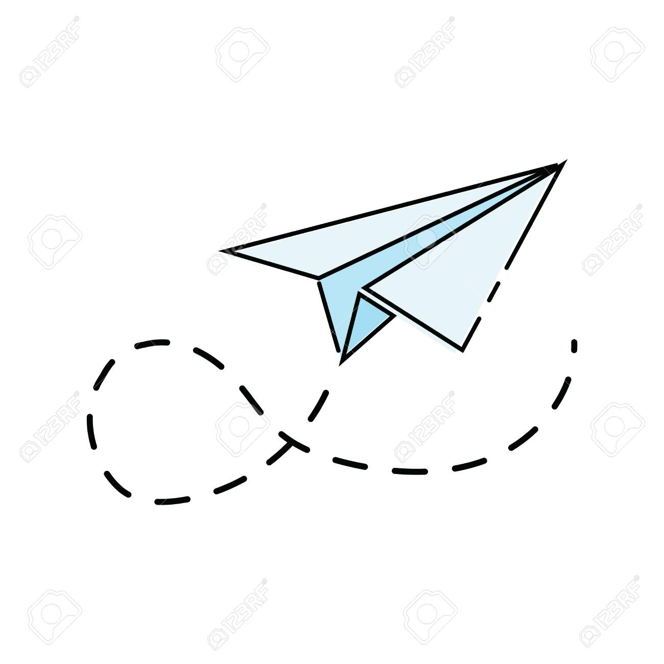 Cartoon Paper Airplane Icon Of The Aircraft Made Of Paper