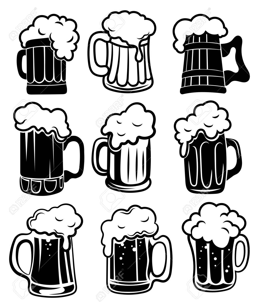Set Of Glasses With Beer A Collection Of Stylized Beer Mugs Royalty Free Cliparts Vectors And Stock Illustration Image 130317057