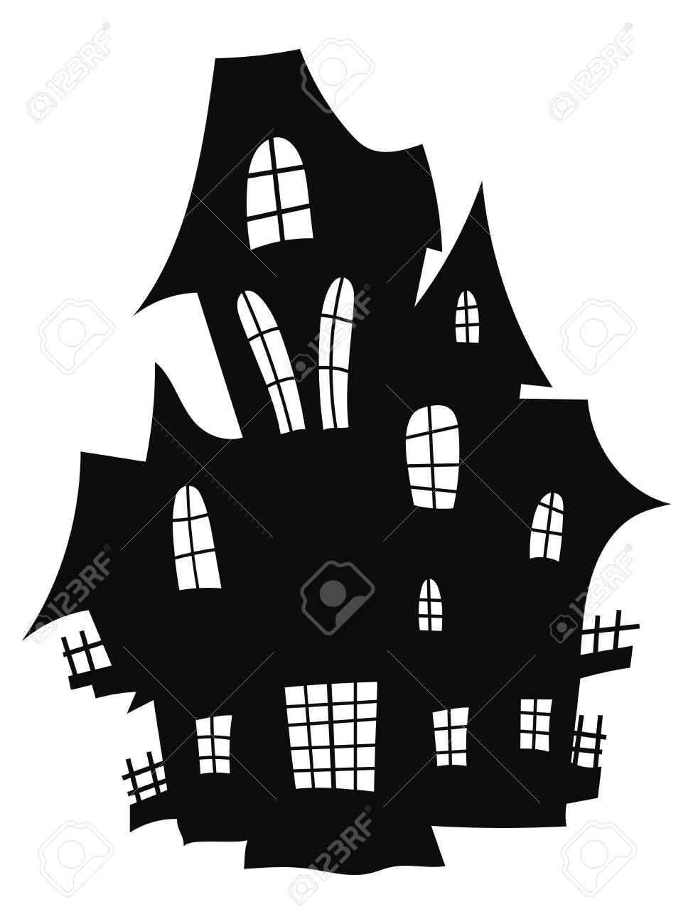 Silhouette of a mystical castle. Vector illustration of a haunted house for Halloween. Tattoo. - 130641249