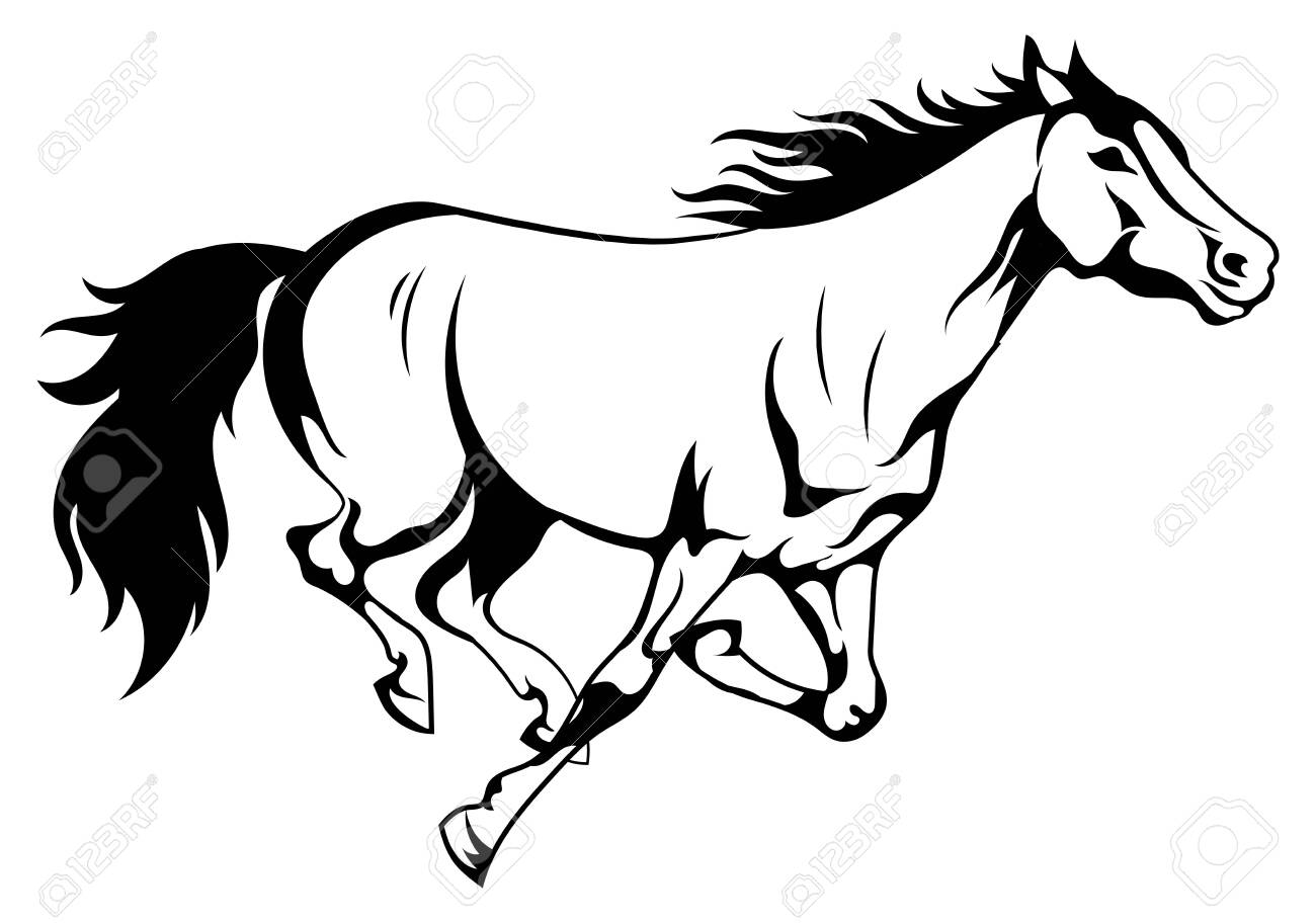 Running Horse Black And White Vector Illustration Of Running Royalty Free Cliparts Vectors And Stock Illustration Image 130641268