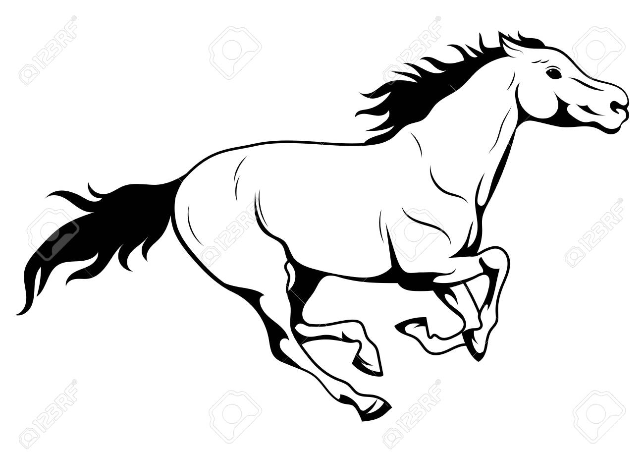 Running Horse Black And White Vector Illustration Of Running Royalty Free Cliparts Vectors And Stock Illustration Image 130641269