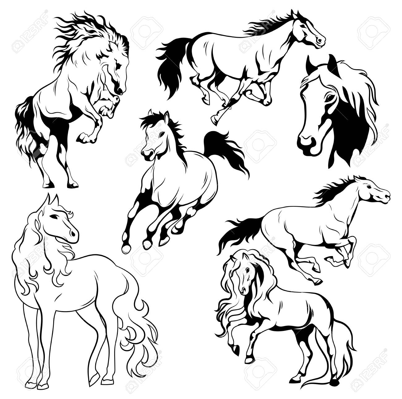 Running Horse Black And White Vector Illustration Of Running Royalty Free Cliparts Vectors And Stock Illustration Image 130641272