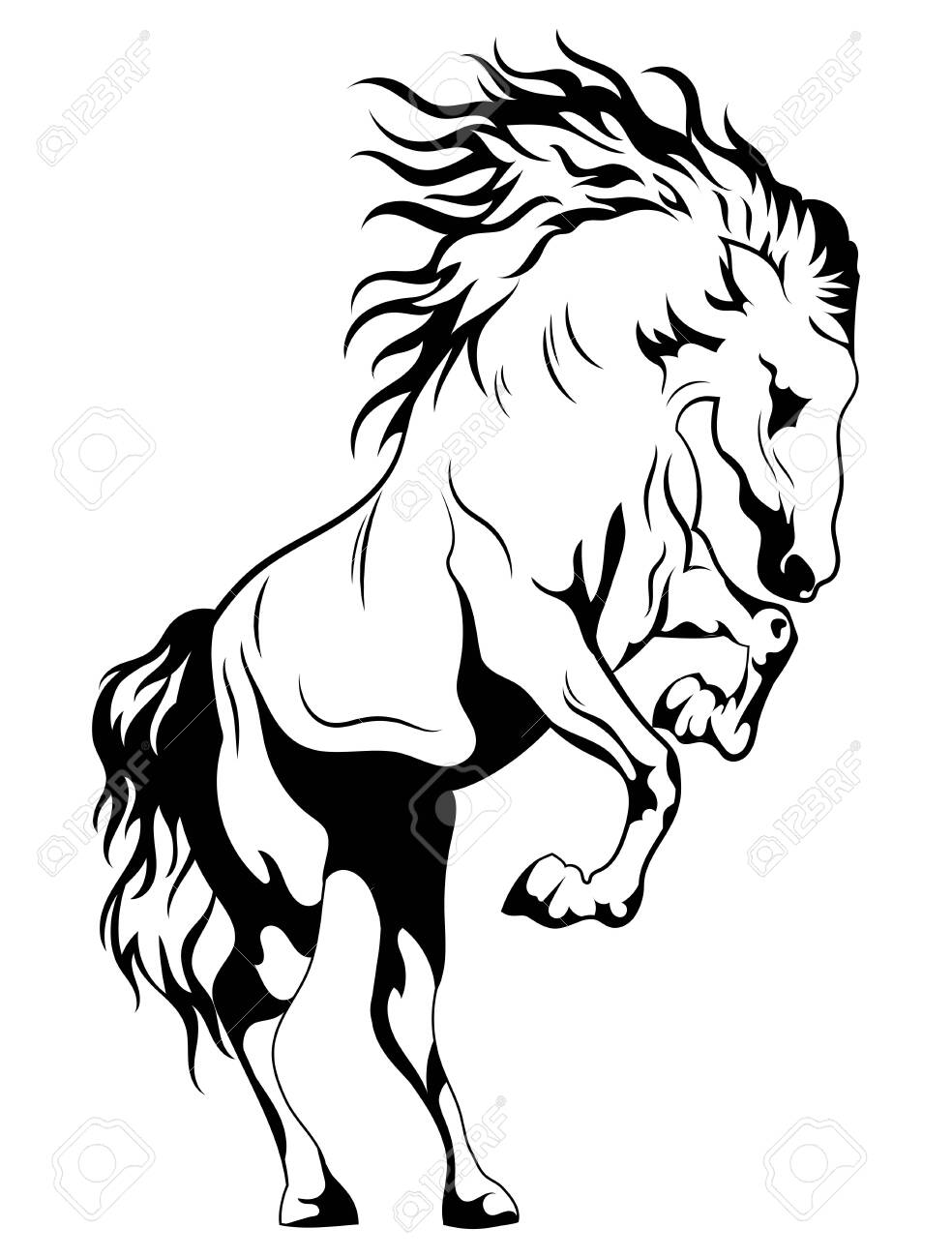 Wild Horse Black And White Illustration Of A Mustang Standing Royalty Free Cliparts Vectors And Stock Illustration Image 130641286