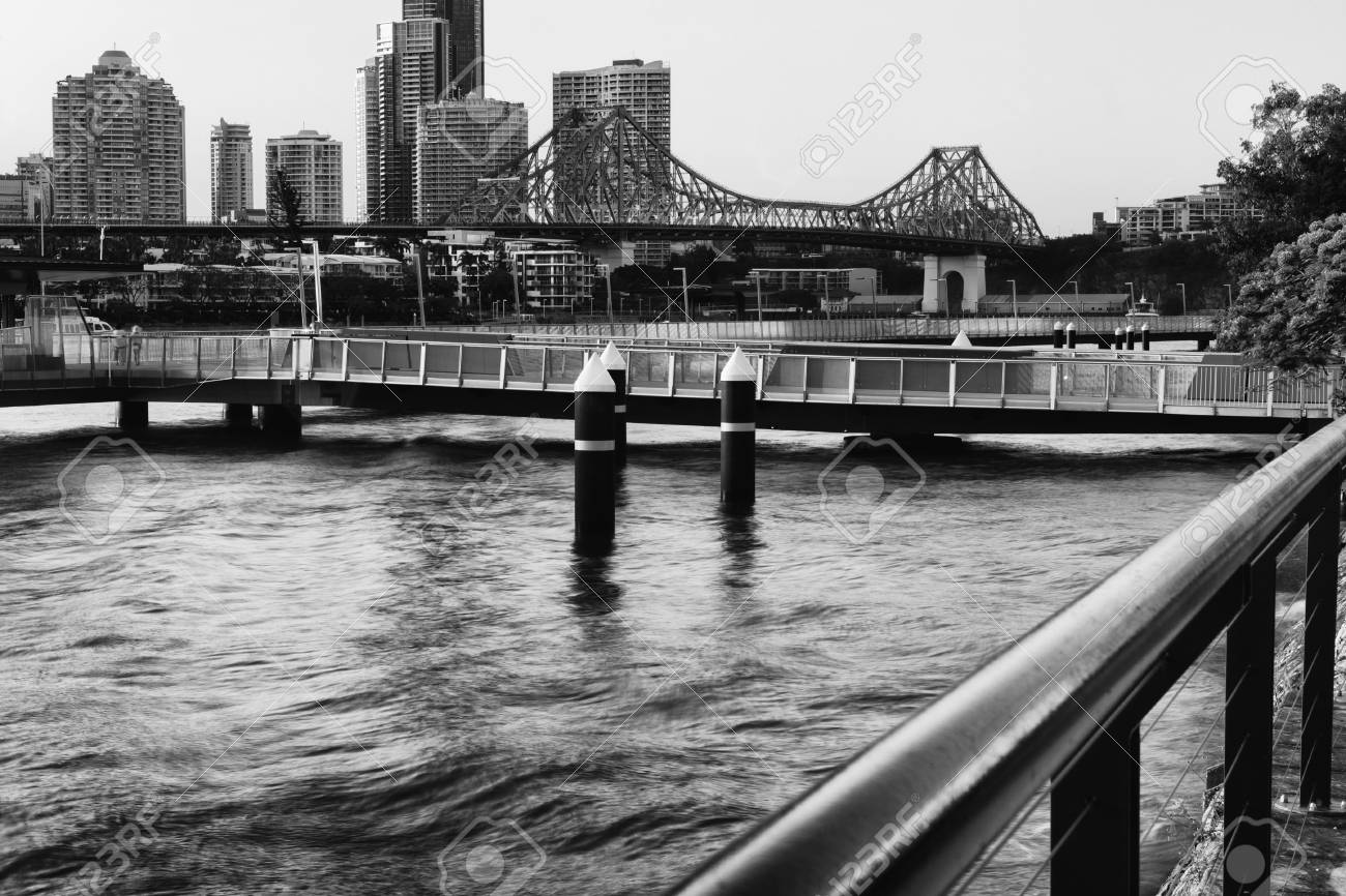 Stock photo the iconic story bridge in brisbane queensland australia black and white