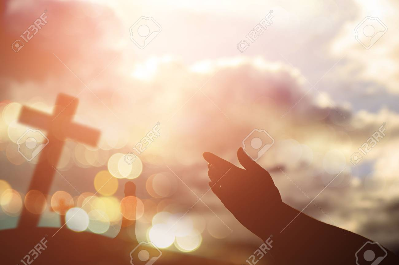 Human hands open palm up worship. Eucharist Therapy Bless God Helping Repent Catholic Easter Lent Mind Pray. Christian concept background. - 70720142