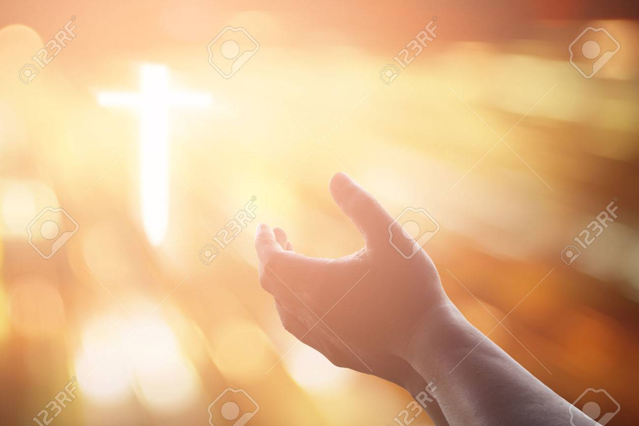 Human hands open palm up worship. Eucharist Therapy Bless God Helping Repent Catholic Easter Lent Mind Pray. Christian concept background. - 70107410