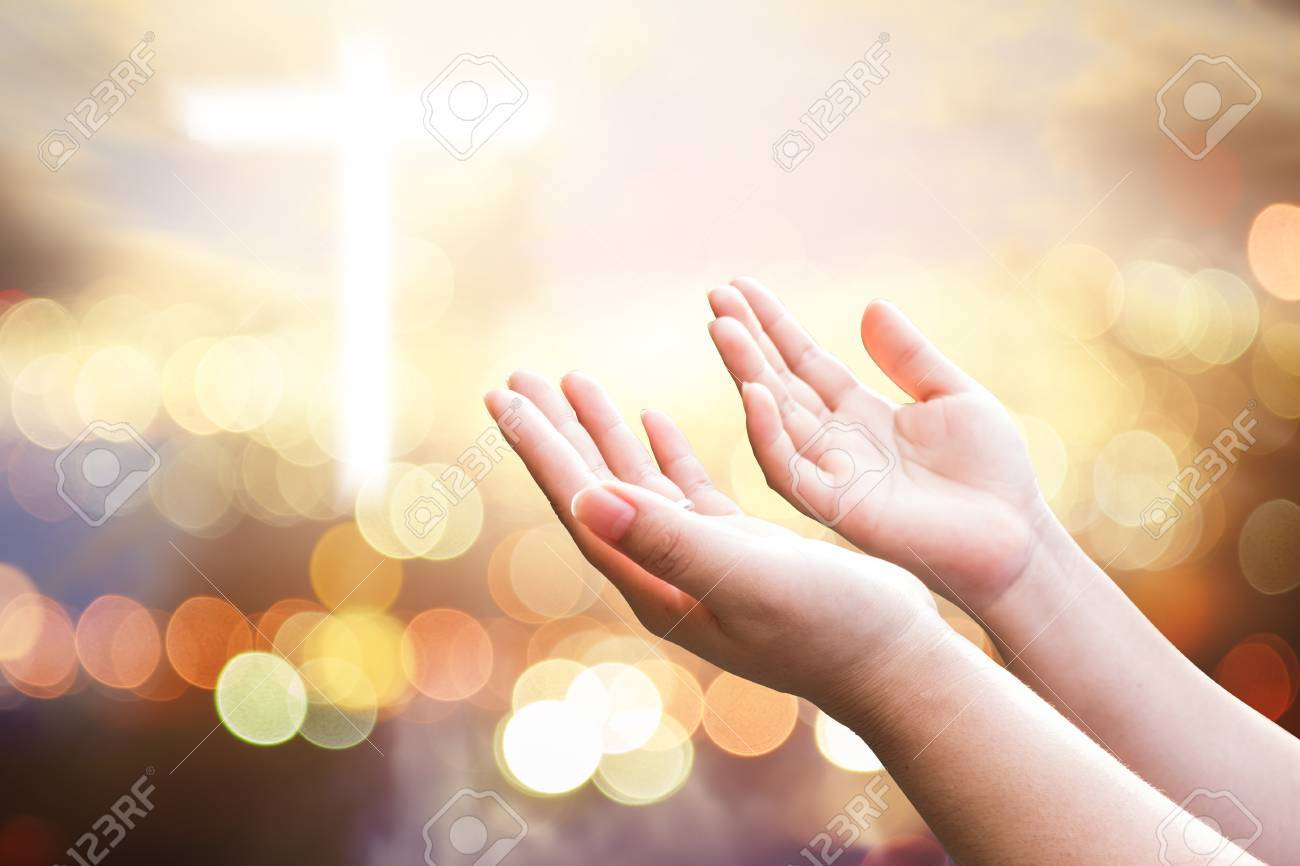 Human hands open palm up worship. Eucharist Therapy Bless God Helping Repent Catholic Easter Lent Mind Pray. Christian concept background. - 77956969