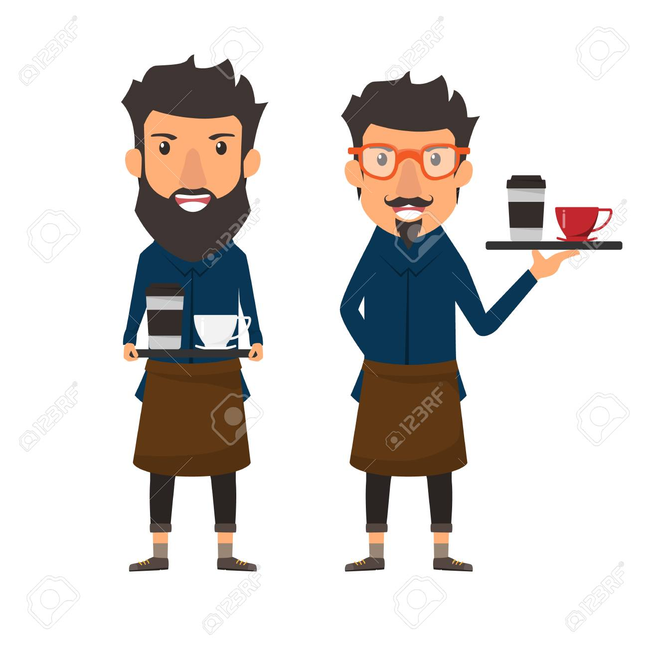 流行に敏感なスタイルバリスタ カフェ ショップの皿のコーヒーを保持し