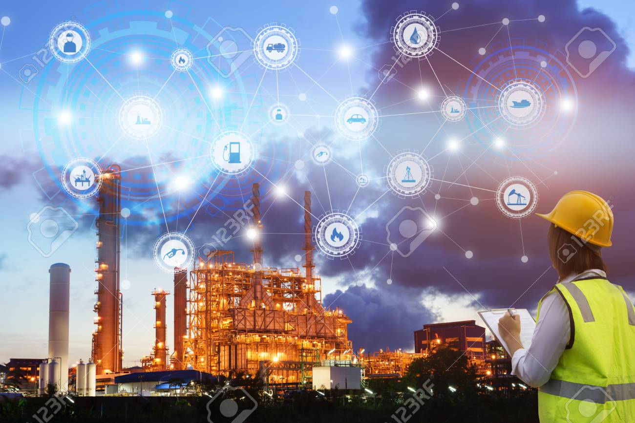 Industry 4.0 concept engineering use clipboard with checking and industrial icons on oil refinery industry sunset background. - 88033755