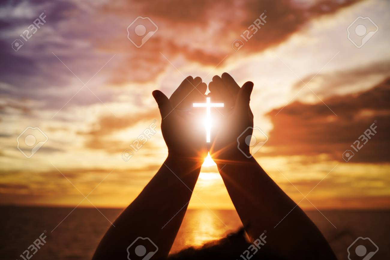 Human hands open palm up worship. Eucharist Therapy Bless God Helping Repent Catholic Easter Lent Mind Pray. Christian Religion concept background. fighting and victory for god - 90667574