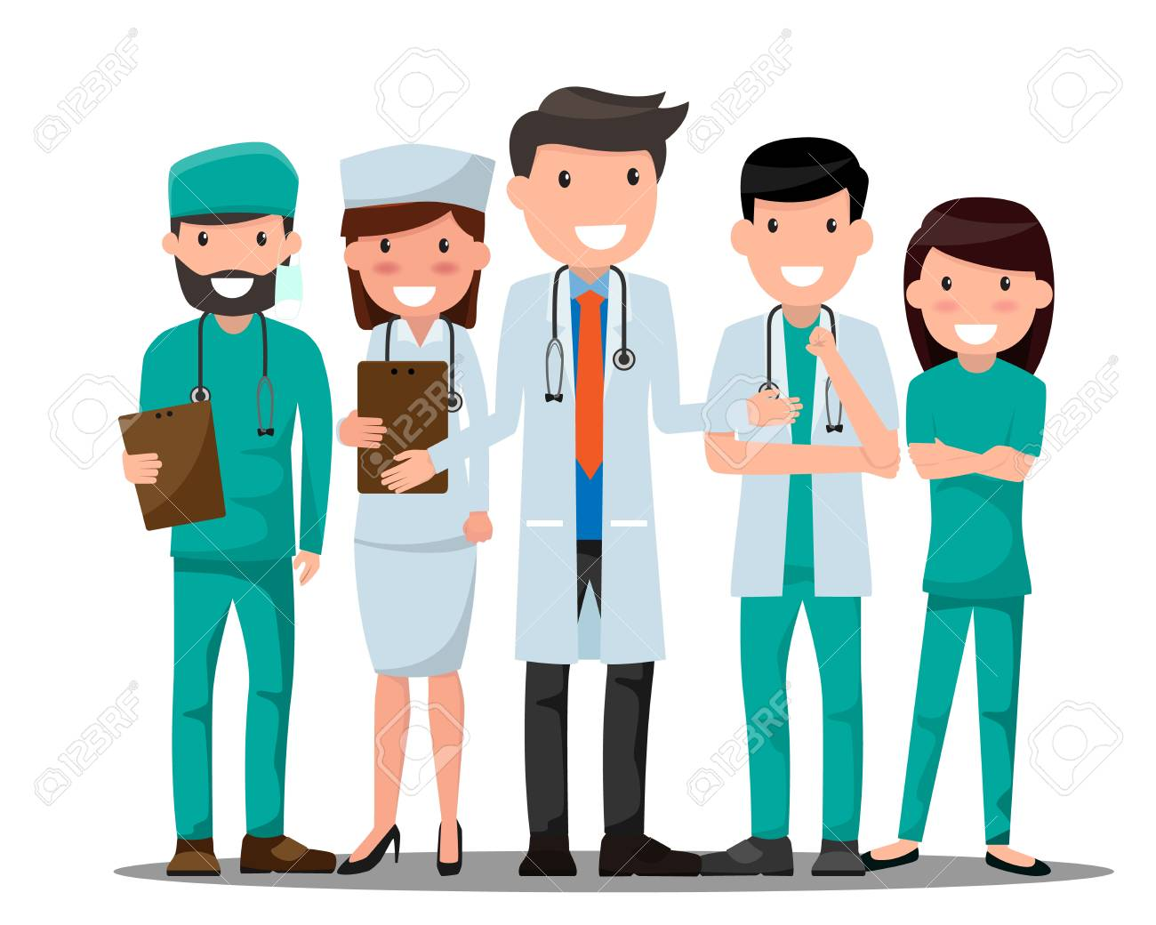 Medical doctors and nurses in various pose for advertising. - 95812892