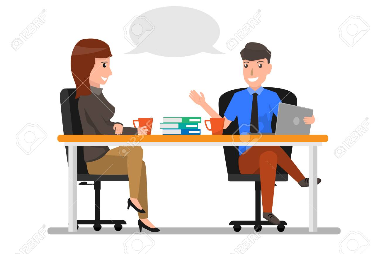 Business people sitting in office and talking illustration. - 95812925
