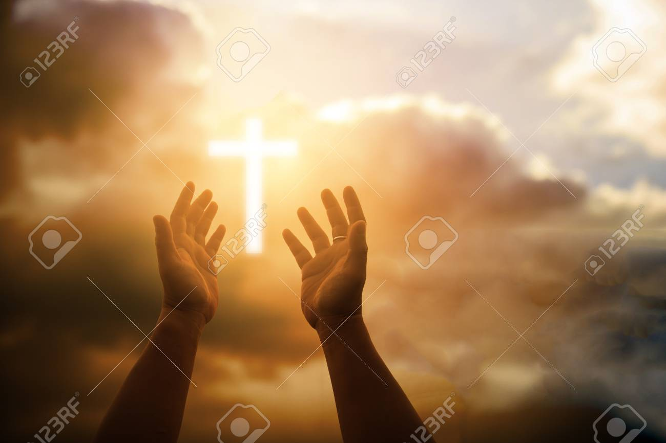 Human hands open palm up worship. Eucharist Therapy Bless God Helping Repent Catholic Easter Lent Mind Pray. Christian Religion concept background. fighting and victory for god - 103005876