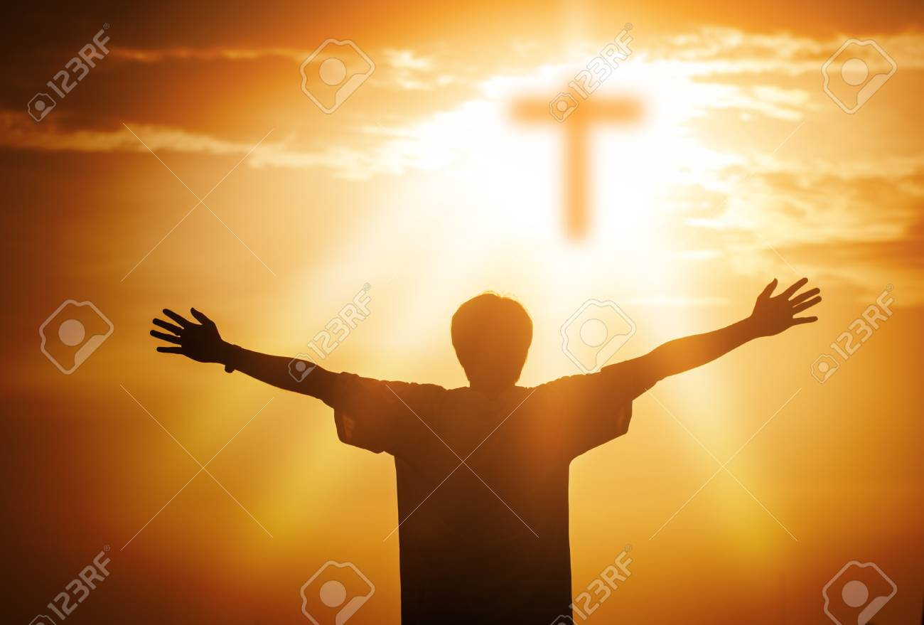 Human hands open palm up worship. Eucharist Therapy Bless God Helping Repent Catholic Easter Lent Mind Pray. Christian Religion concept background. fighting and victory for god - 120933953