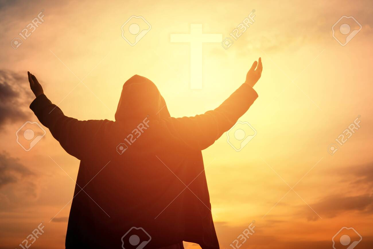 Human hands open palm up worship. Eucharist Therapy Bless God Helping Repent Catholic Easter Lent Mind Pray. Christian Religion concept background. fighting and victory for god - 120936608