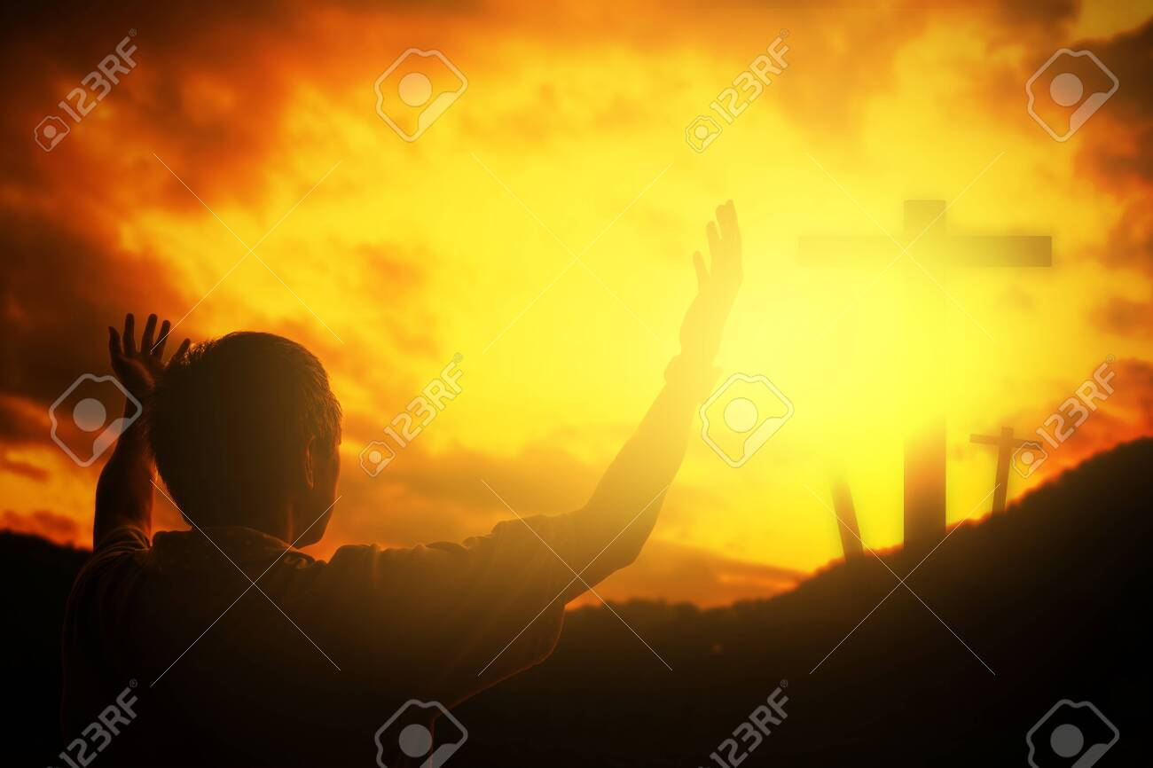 Human hands open palm up worship. Eucharist Therapy Bless God Helping Repent Catholic Easter Lent Mind Pray. Christian Religion concept background. fighting and victory for god - 120936649