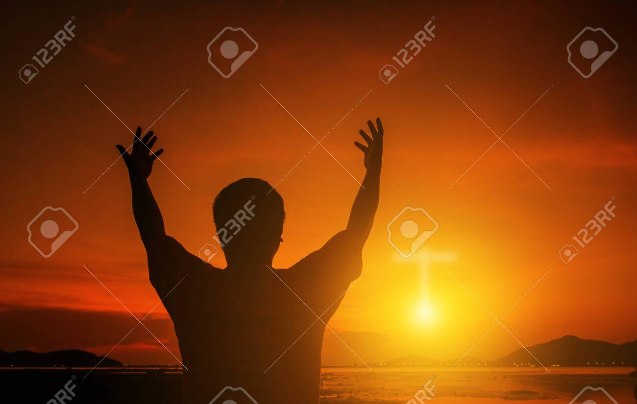 Human hands open palm up worship. Eucharist Therapy Bless God Helping Repent Catholic Easter Lent Mind Pray. Christian Religion concept background. Fighting and victory for god.people prayer at sunset - 128366726