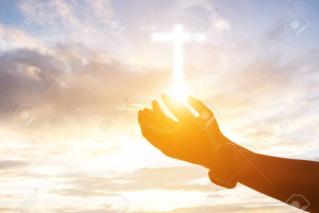 Human hands open palm up worship. Eucharist Therapy Bless God Helping Repent Catholic Easter Lent Mind Pray. Christian Religion concept background. fighting and victory for god - 128367430