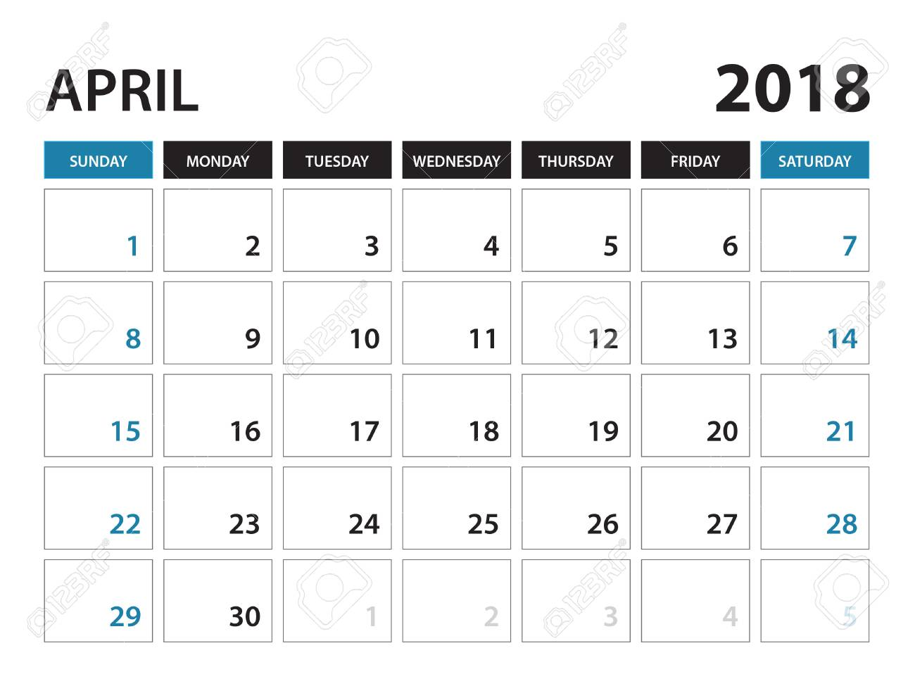 graphic about April Printable Calendar called Printable calendar for April 2018, Planner layout template, ..