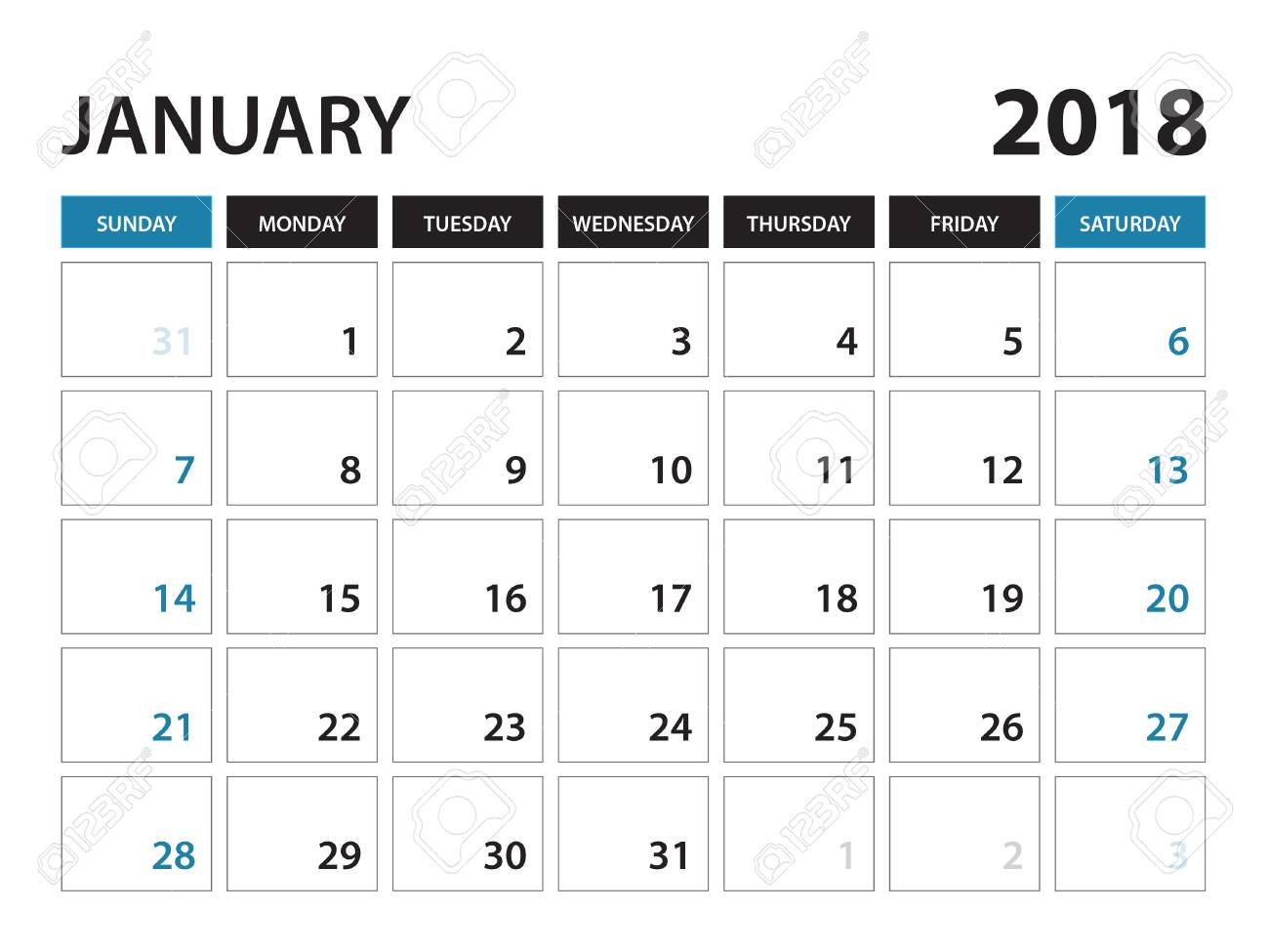 Printable Calendar For January 2018 Planner Design Template Week Starts On Sunday Stationery