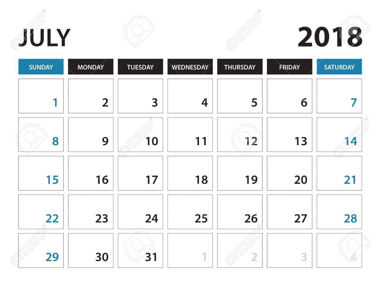 printable calendar for july 2018 planner design template week starts on sunday stationery