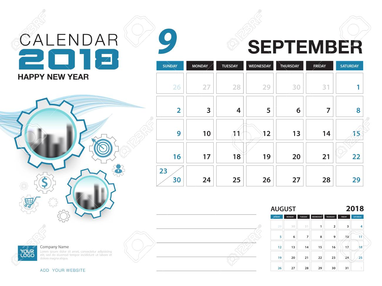 desk calendar 2018 template september 2018 month planner design