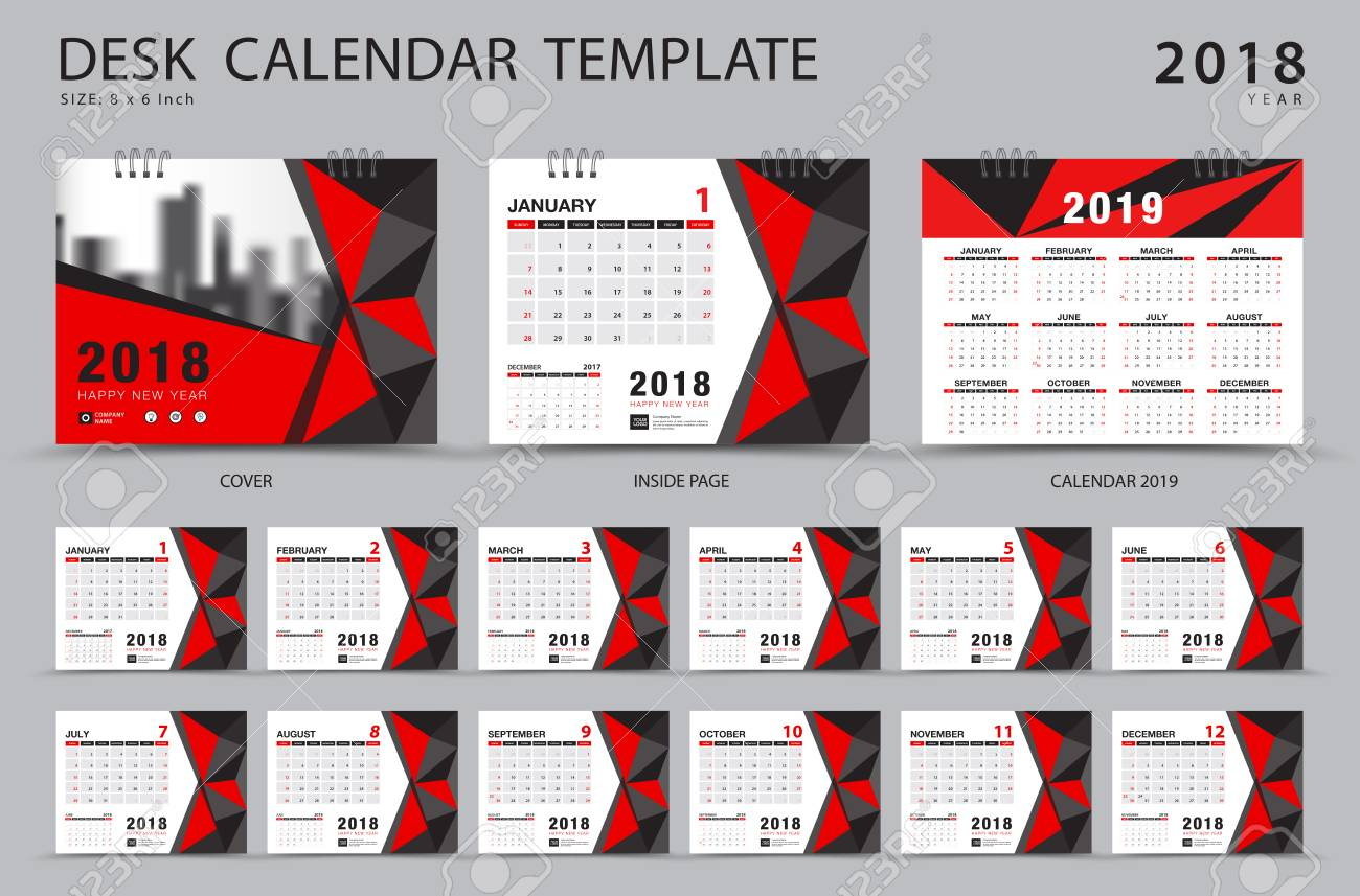 Desk Calendar 2018 Template Set Of 12 Months Planner Week