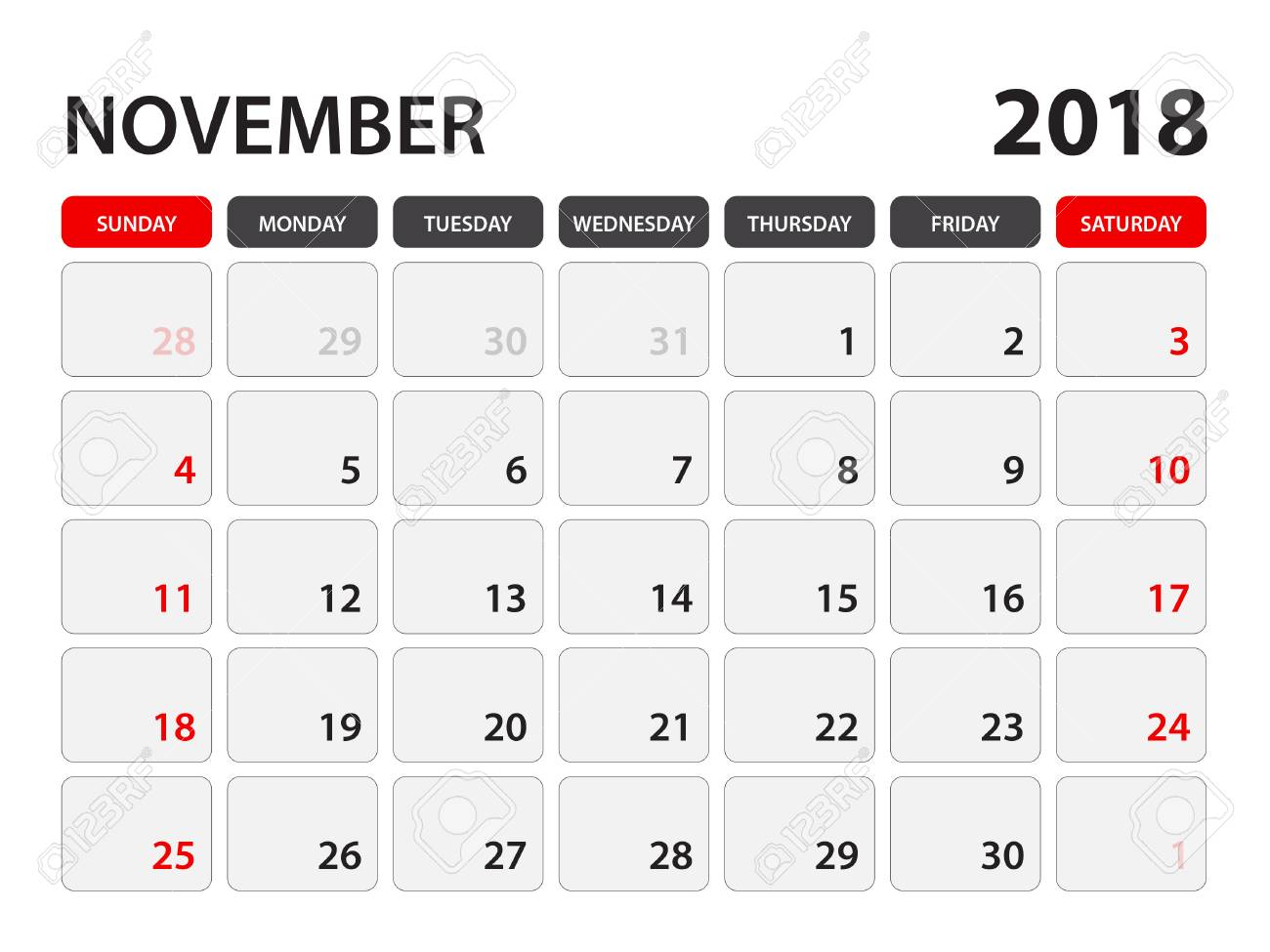 Calendario Con Week 2018.Calendar For November 2018 Week Starts On Monday