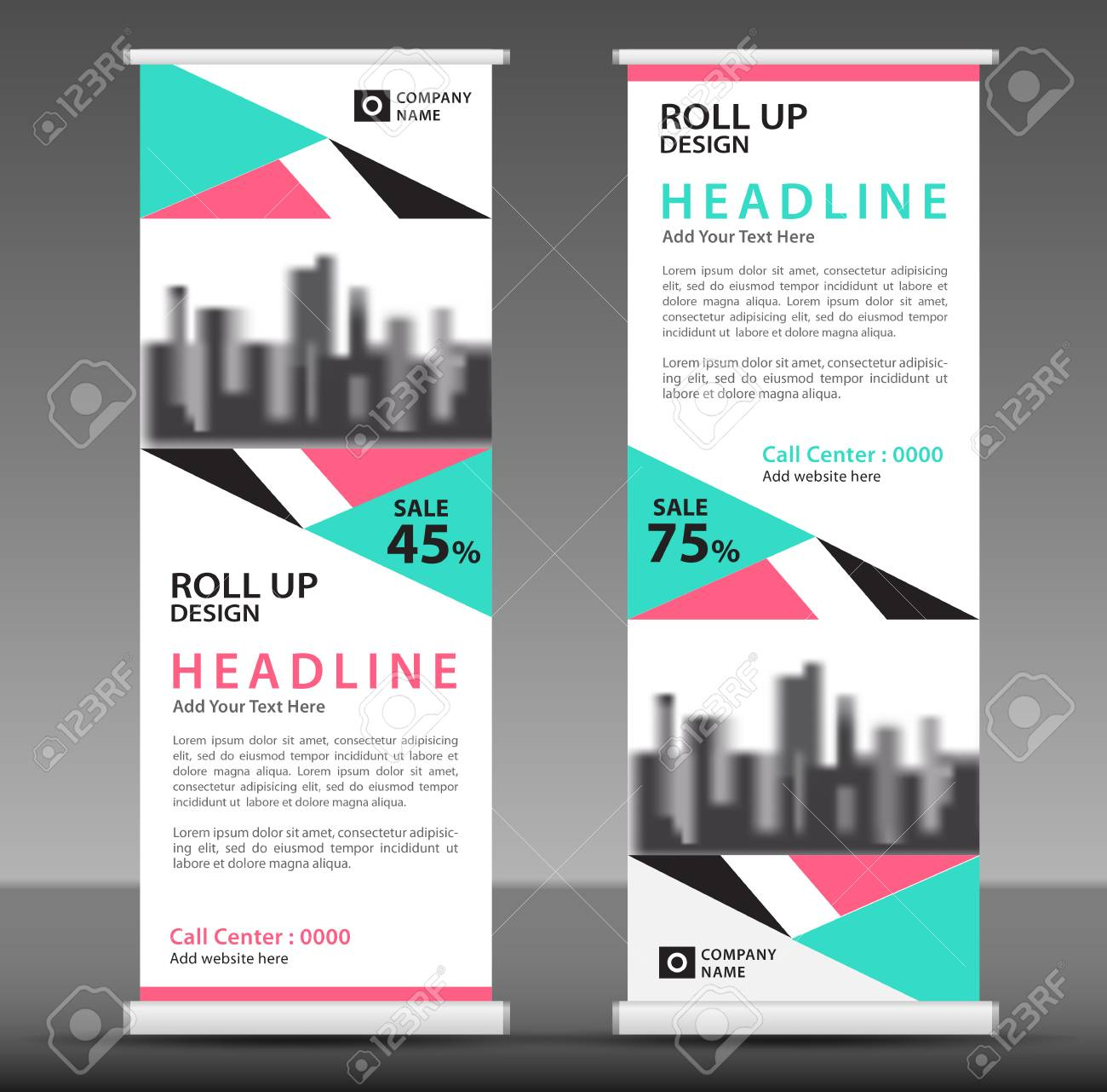 blue pink roll up banner template pull up layout business brochure flyer