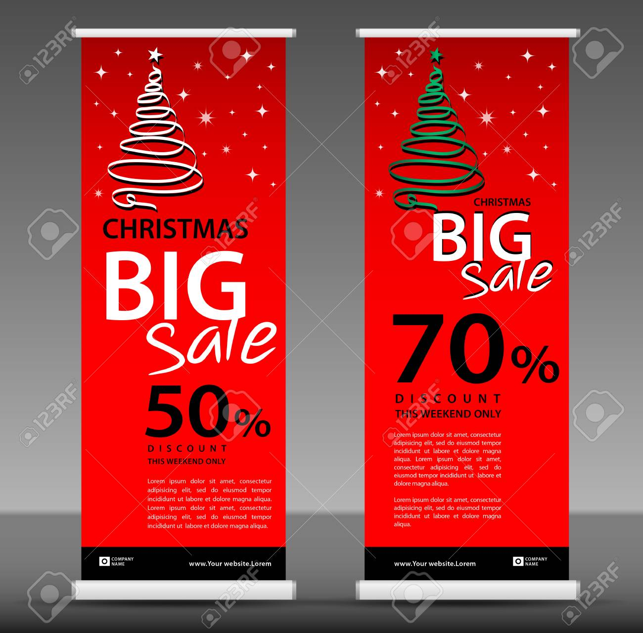 Christmas Sale Roll Up Banner Template, Flyer Layout Vector ...