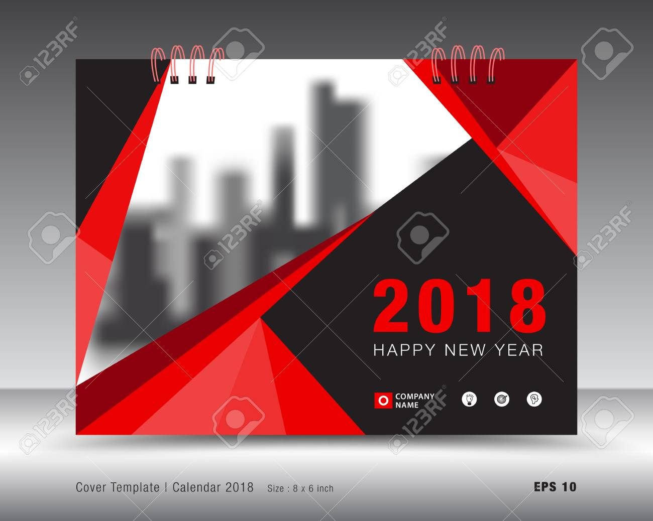 Cover calendar 2018 template, Red cover business brochure flyer