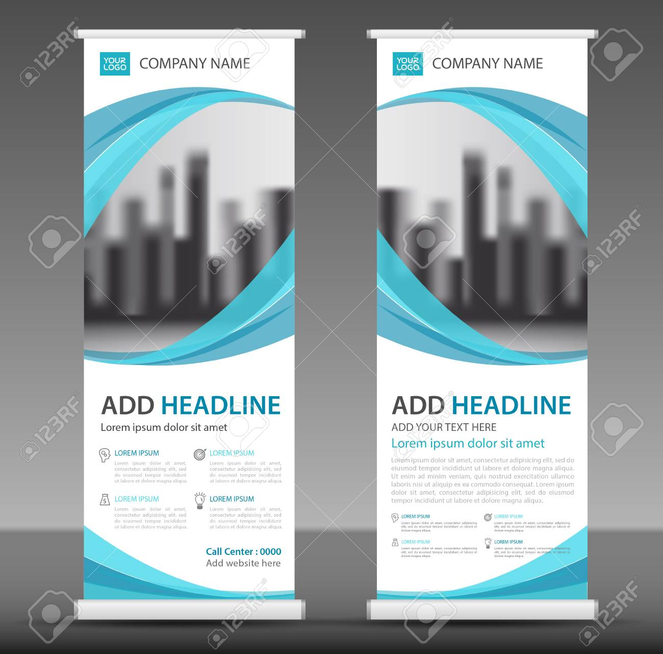 Blue Roll up banner stand template design. - 91055953