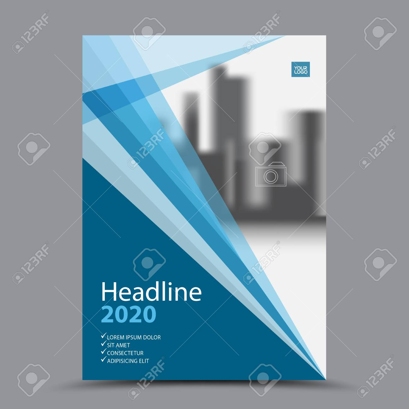 Blue Cover Design Annual Report Template. Business Brochure Layout. Book  Cover Template For Corporate