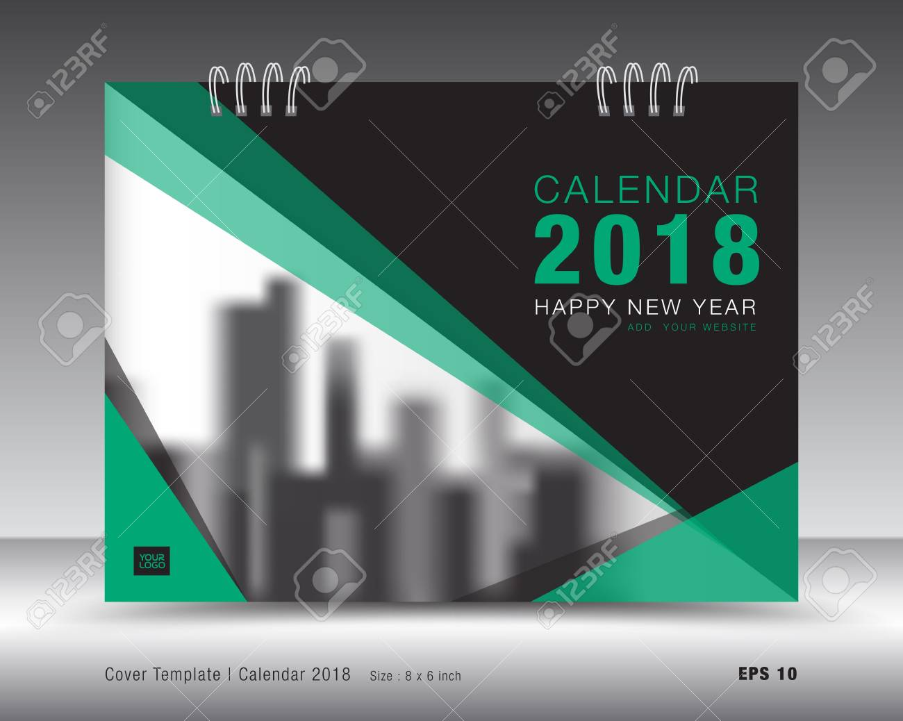cover calendar 2018 template green book layout business brochure