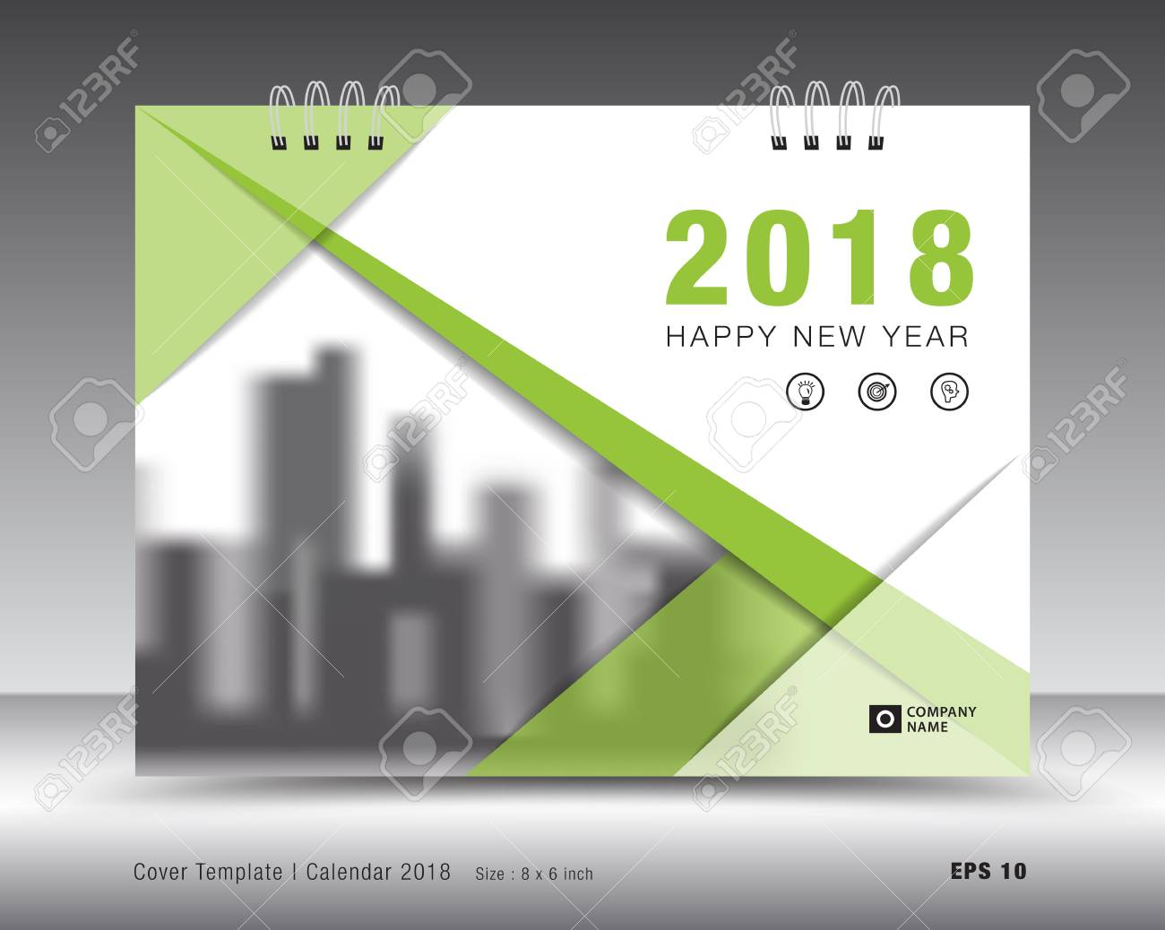 Abdeckung Kalender 2018 Vorlage. Grünbuch-Layout. Business-Broschüre ...