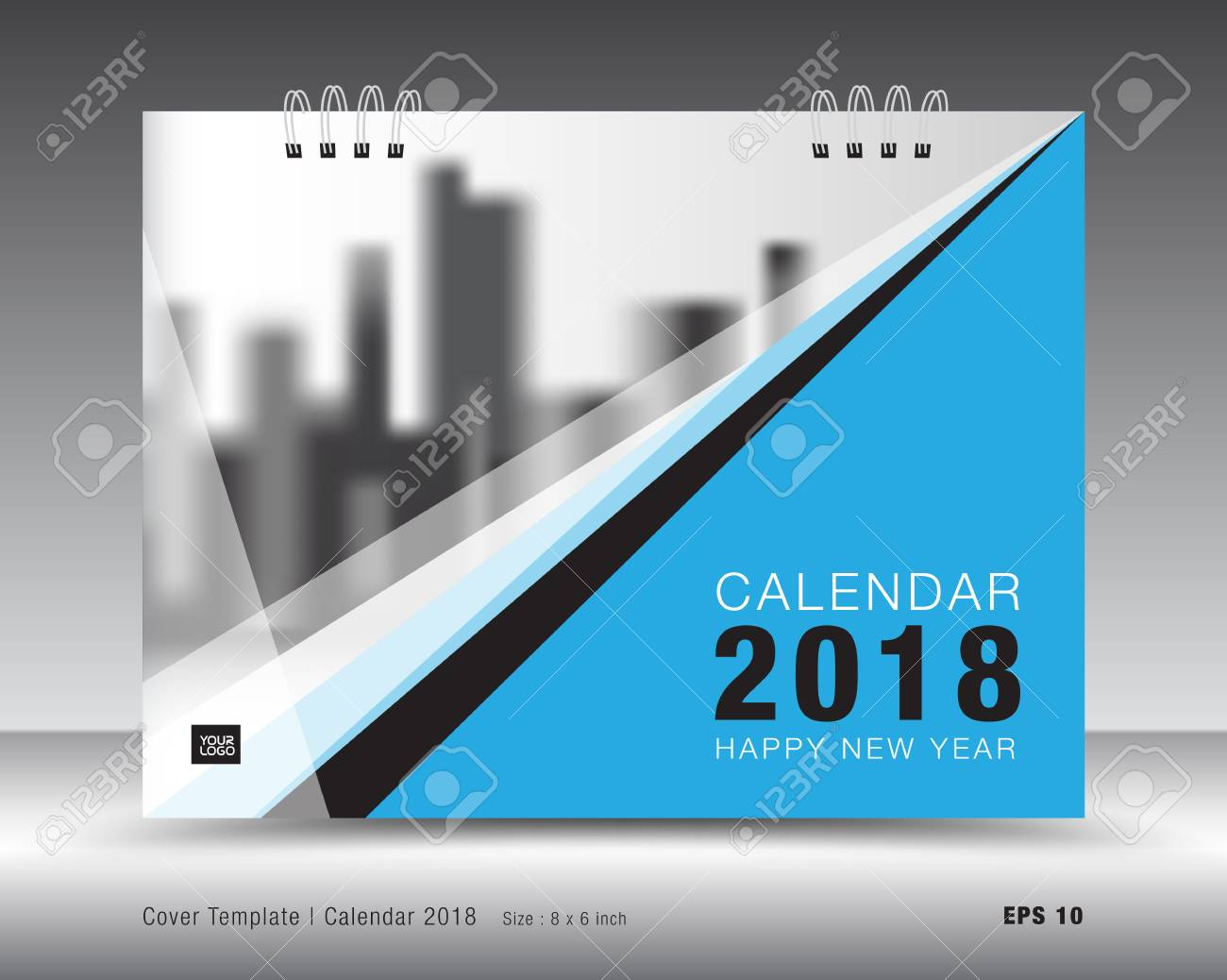 Cover Calendar 2018 Template Blue Cover Layout Business Brochure