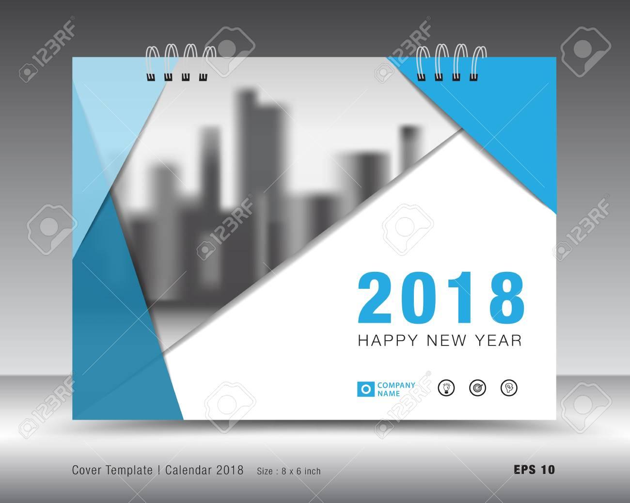 Abdeckung Kalender 2018 Vorlage. Blaues Cover-Layout. Business ...