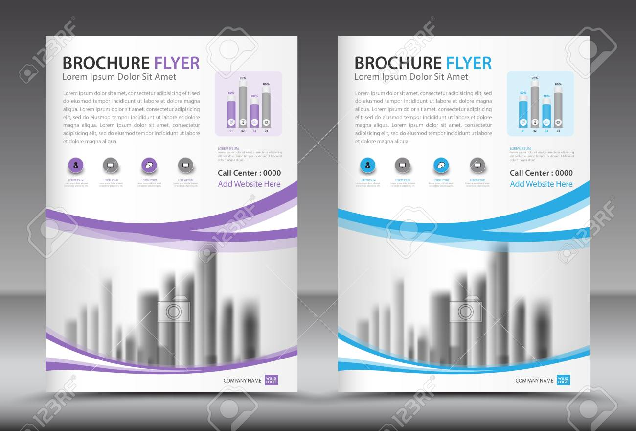 business brochure flyer template designs with city background