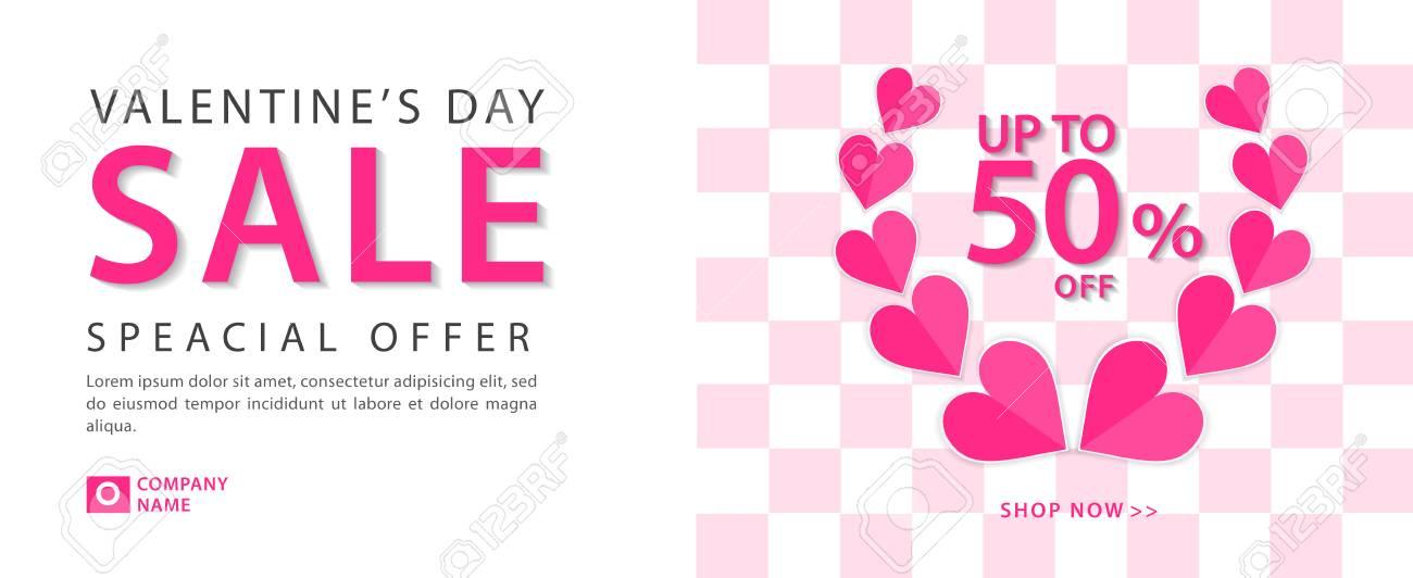 Valentine S Day Sale Banner Vector Template Valentines Heart