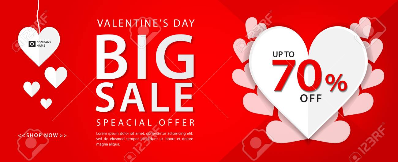 valentines day sale banner vector template valentines heart sale tags web banner design