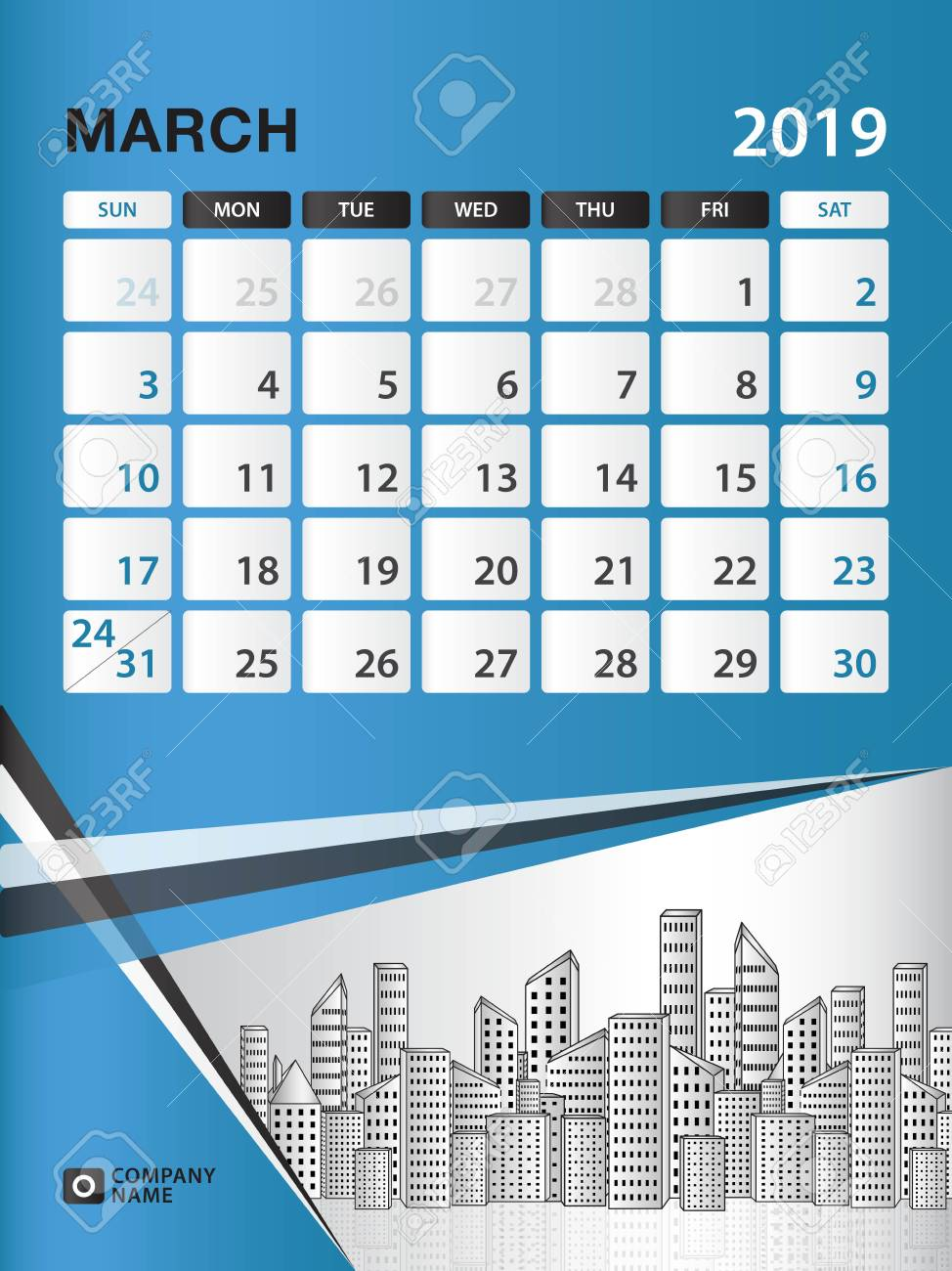 March 2019 Month Template Desk Calendar For 2019 Year Week