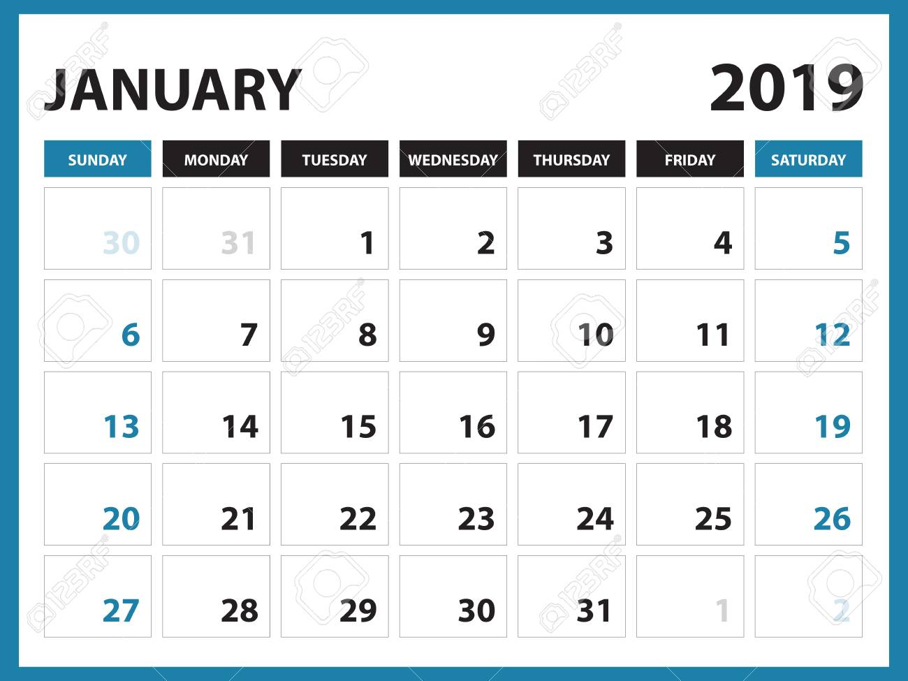 photo about January Calendar Printable identified as Table calendar for January 2019 template, Printable calendar,..