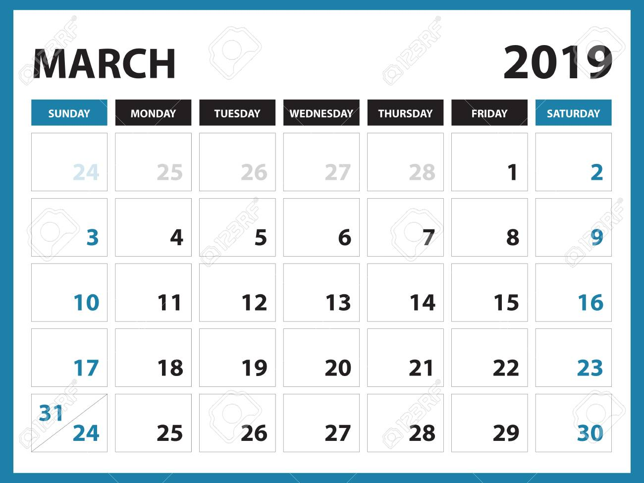Printable Calendar March 2019.Desk Calendar For March 2019 Template Printable Calendar Planner