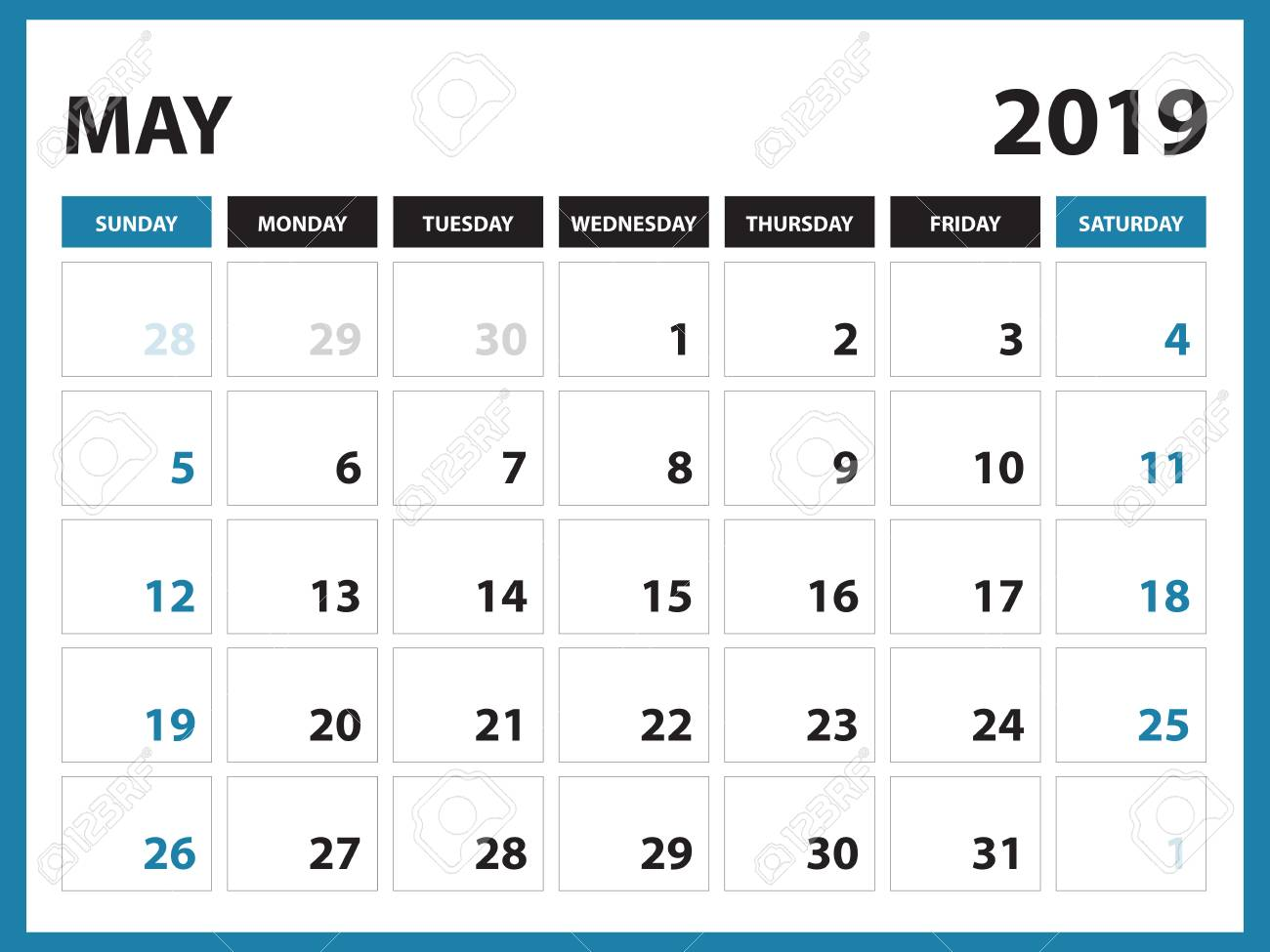 Desk Calendar For May 2019 Template Printable Calendar Planner