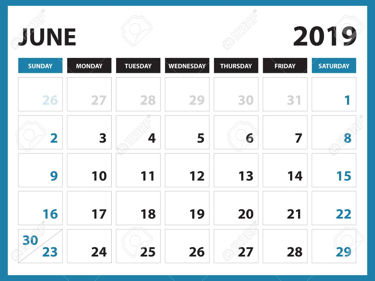 Blank June 2019 Printable Calendar.Desk Calendar For June 2019 Template Printable Calendar Planner