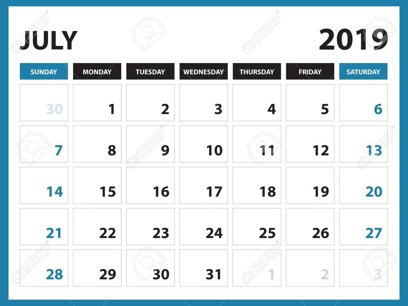 picture about July Printable Calendar titled Table calendar for JULY 2019 template, Printable calendar, Planner..