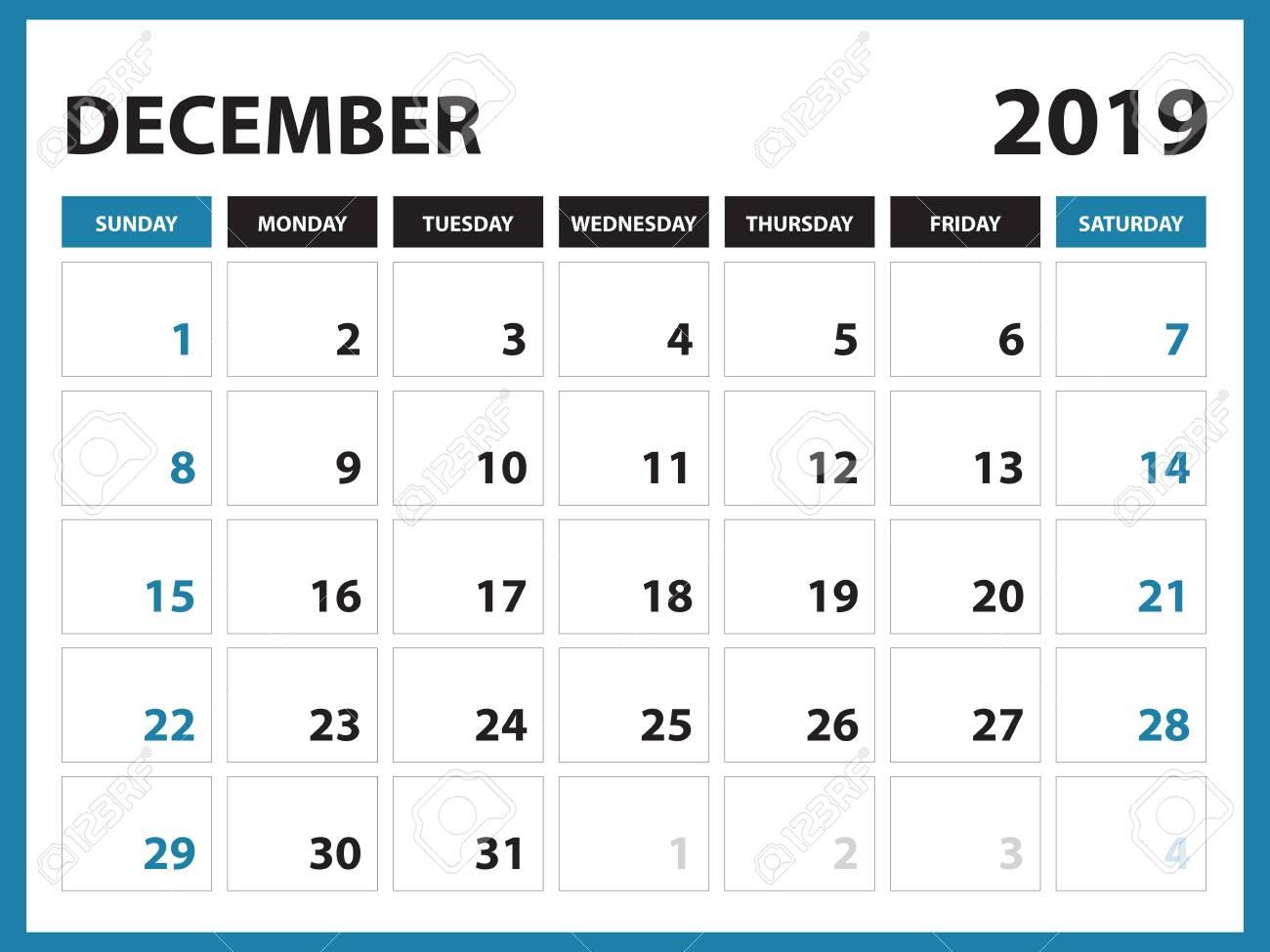 Desk Calendar For December 2019 Template Printable Calendar
